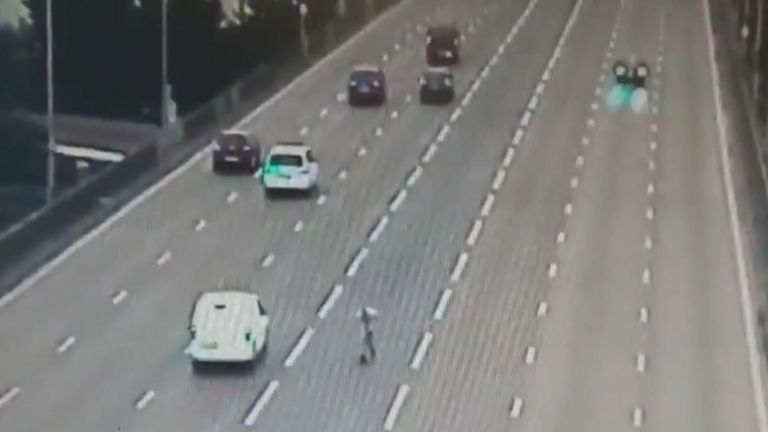 Drunk man on e-scooter stopped on busy motorway. police handout