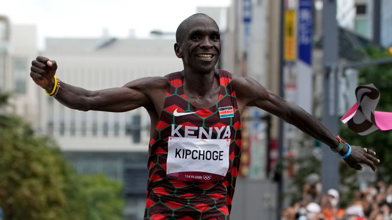 Eliud Kipchoge his Olympic marathon title in Tokyo Pic: AP