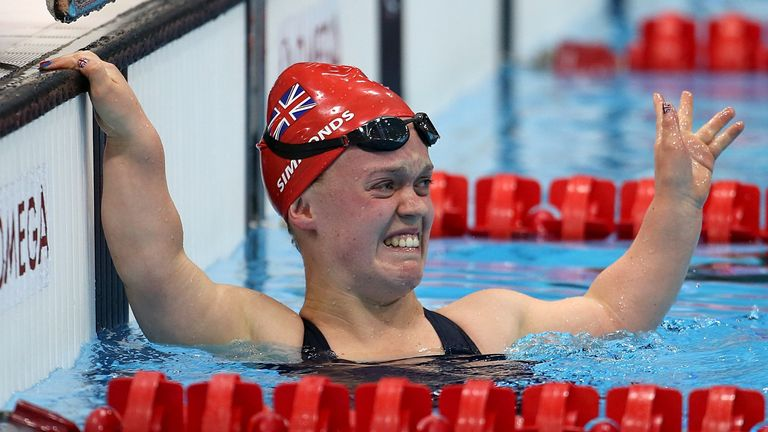 An emotional Ellie Simmonds after winning gold at London 2012