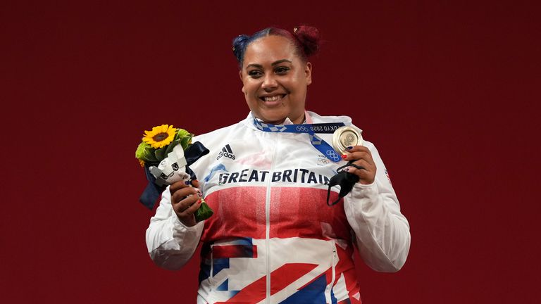 Great Britain's Emily Jade Campbell on the podium with silver in the Women's +87kg weightlifting