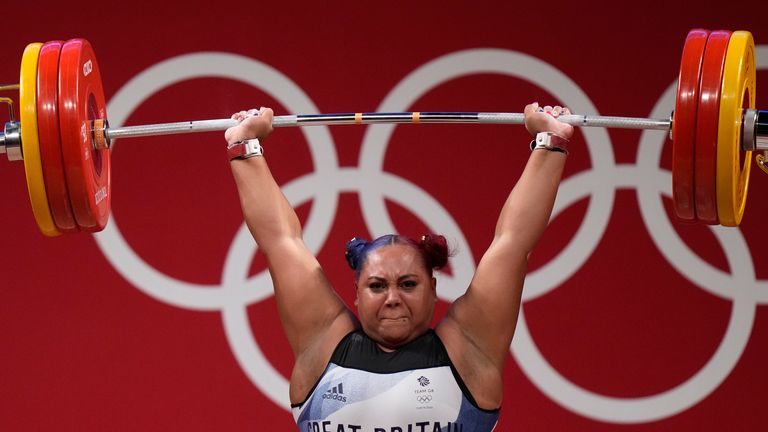 Emily Campbell landed the first women's Olympic weightlifting medal for Great Britain with silver in the +87kg category. Pic: AP