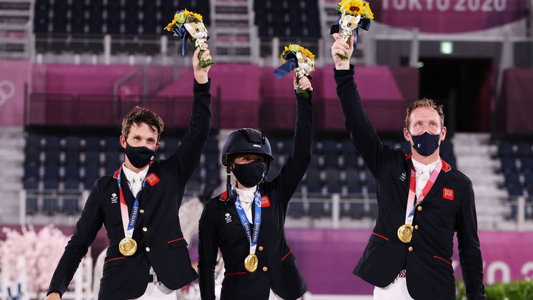 Tom McEwen, Laura Collett and Oliver Townend win team equestrian eventing gold for Great Britain