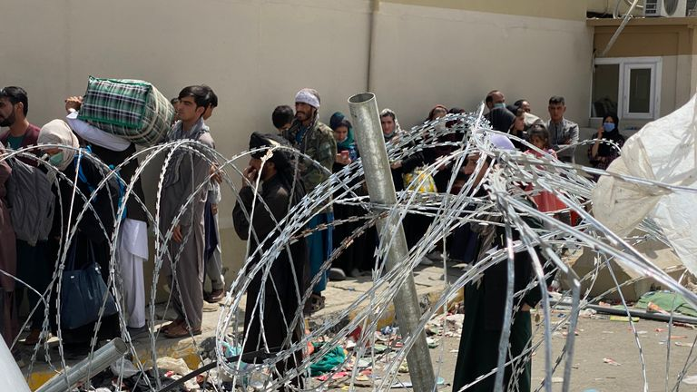 Evacuees outside British compound in Kabul, Afghanistan