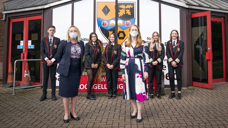 Scottish Education Secretary Shirley-Anne Somerville (third right) meets staff and students during a visit to Lochgelly High School in Lochgelly, Fife, as high school pupils across Scotland find out their exam results. Picture date: Tuesday August 10, 2021.