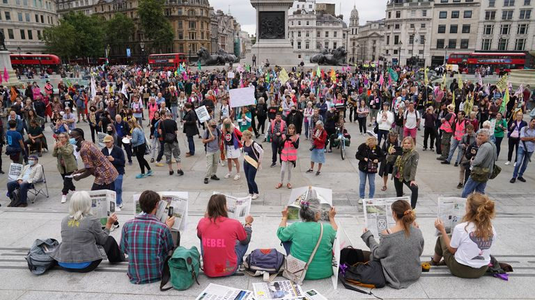 The climate campaign group have gathered in Trafalgar Square as part of two-weeks of protests