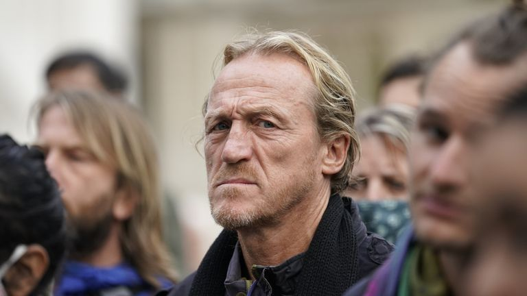 Actor Jerome Flynn has praised the group and was seen at the protest on Sunday