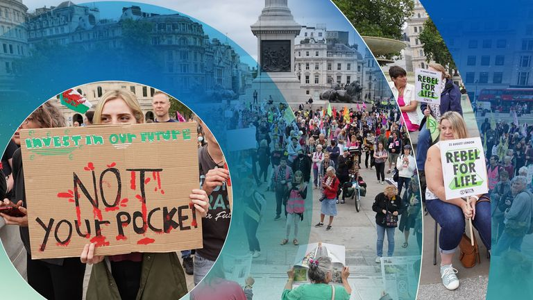 The protests beganon Monday morning, with activists gathering at Trafalgar Square