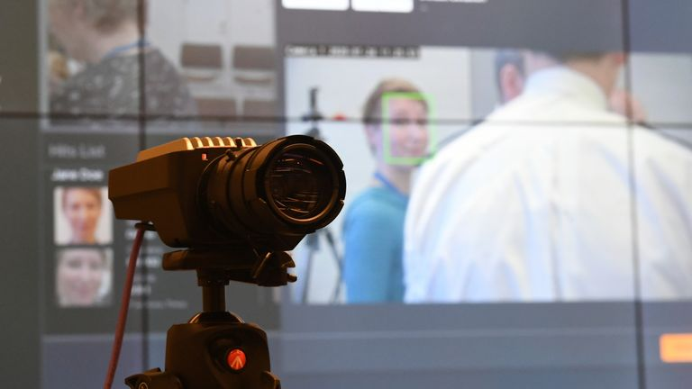A camera used during trials for the new facial recognition system