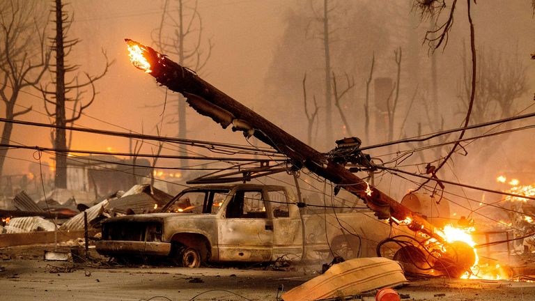 The town was destroyed after the Dixie Fire ripped through it on Wednesday. Pic AP
