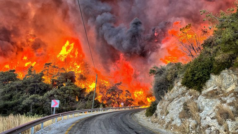 An inferno sweeping up the hills close to Çökertme, in Turkey