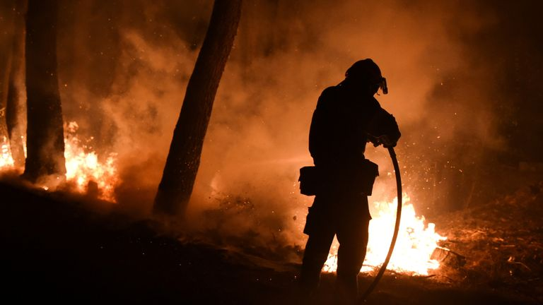 A firefighter battles a wildfire burning in the suburb of Thrakomakedones, north of Athens