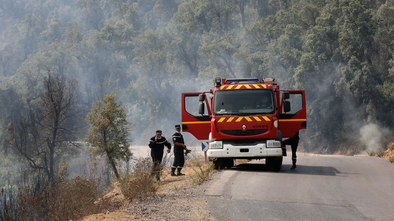 Firemen work near the village of Toudja during fires in the Kabyle region. Pic: AP