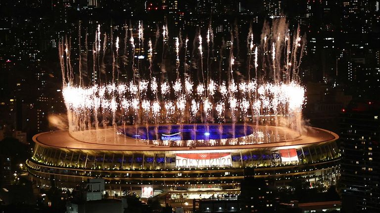 Tokyo 2020 Olympics - The Tokyo 2020 Olympics Closing Ceremony - Olympic Stadium, Tokyo, Japan - August 8, 2021. Fireworks are seen from outside the stadium during the closing ceremony from the Shibuya Sky observation deck REUTERS/Kim Kyung-Hoon