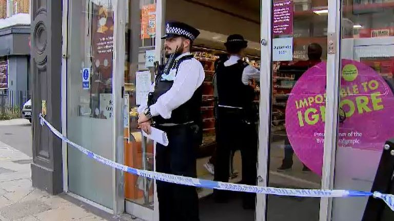 Police were outside the Sainsbury's Local on Fulham Palace Road on Thursday morning