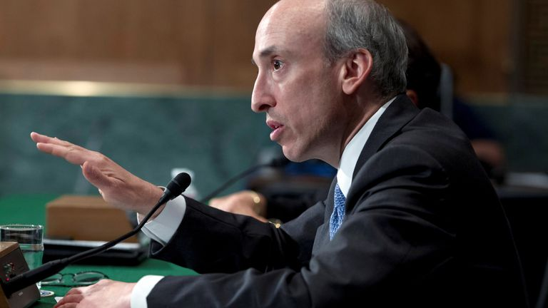 Commodity Futures Trading Commission Chair Gary Gensler testifies at a Senate Banking, Housing and Urban Affairs Committee hearing on Capitol Hill July 30, 2013.