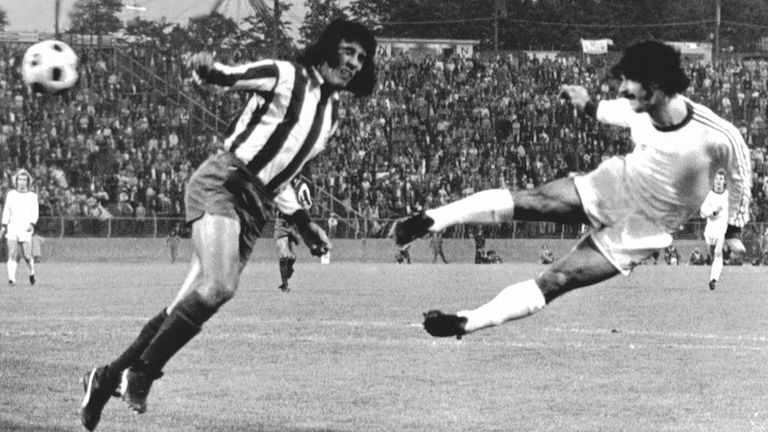 Gerd Muller heads a goal in the 1974 European Cup final, helping Bayern Munich win the title for the first time. Pic: AP