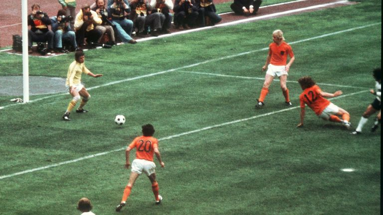 Soccer World Cup 1974: Germany vs. Netherlands German forward Gerd Mueller (far R, edge of the picture) pushes the ball past defender Ruud Krol (2nd from R, no 12) and goalkeeper Jan Jongbloed into the Dutch goal for the decisive 2-1 goal during the 1974 World Cup final Germany against the Netherlands at the Olympic Stadium in Munich, Germany on 7 July 1974. Germany won the game 2-1 against the Netherlands and won the world champion title for the second time. Mueller, who scored with 10 goals th