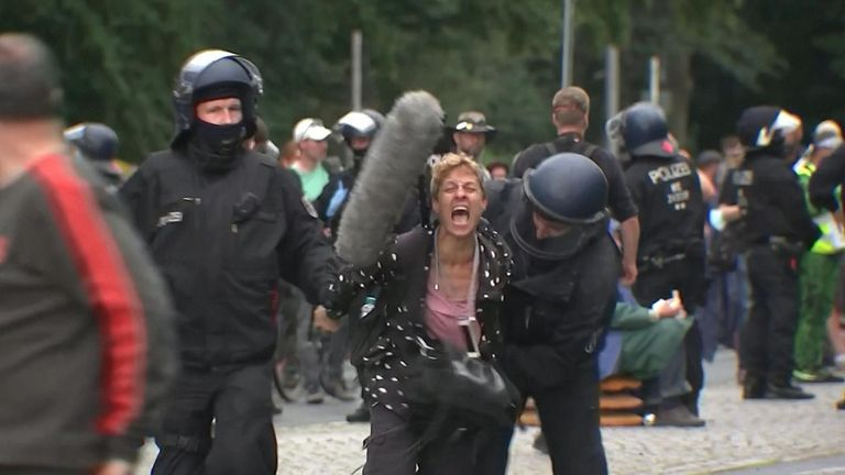 Thousands attended the protest against Germany's anti-coronavirus rules – despite there being a ban on mass gatherings.