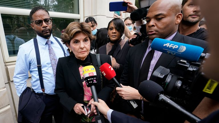 Women's rights attorney Gloria Allred, second from left, outside Brooklyn Federal court ahead of the opening statements in R&B star R Kelly's long-anticipated federal trial in New York. Pic: AP Photo/Mary Altaffer