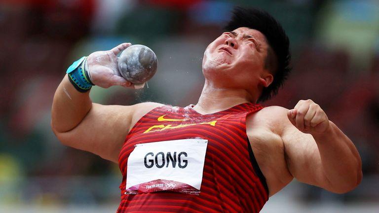 Gong Lijiao in the final of the shot put