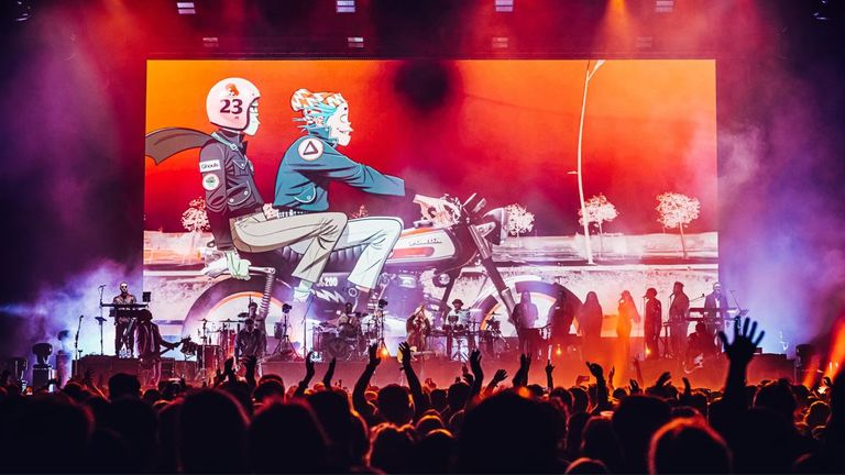 Gorillaz performing at the O2 Arena in London. Pic: Luke Dyson