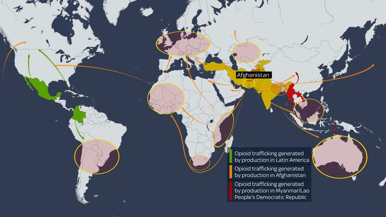 Afghan drugs get trafficked all over the world. Data: UNODC