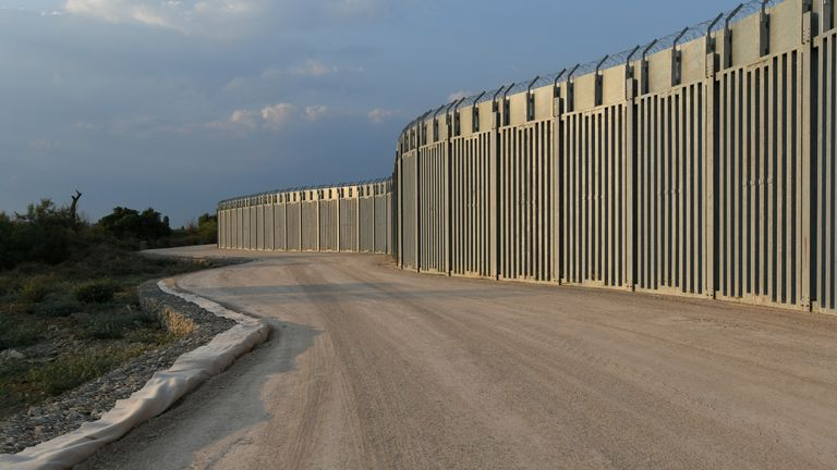 View of a border fence between Greece and Turkey, in Alexandroupolis