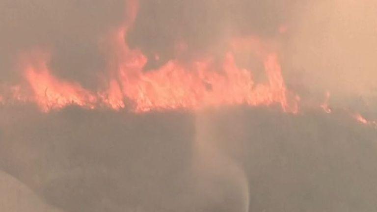 Wildfire break out in Greece