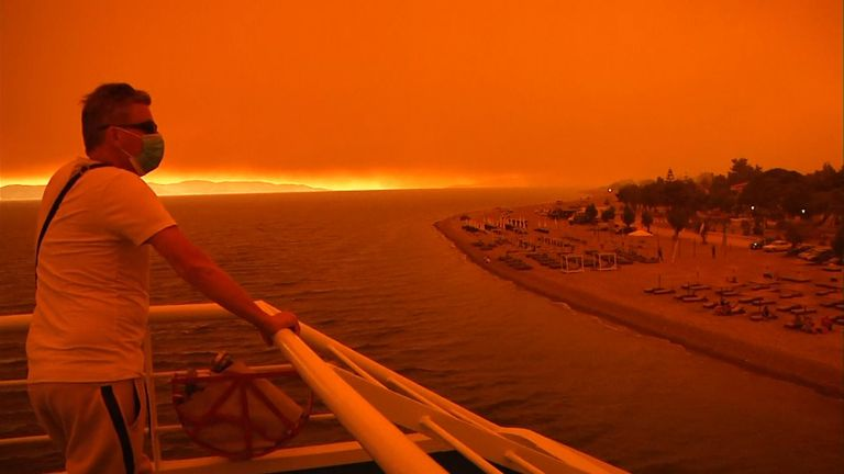 The apocalyptic-looking view from the ferry