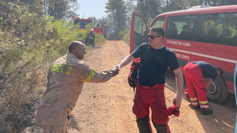 UK firefighters are helping in Arcadia, in the Peloponnese