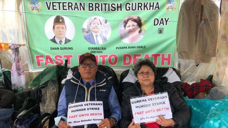 Dhan Gurung (left) on his hunger strike opposite Downing Street