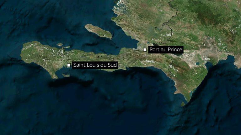 Map of Haiti showing Saint Louis de Sud and Port au Prince.