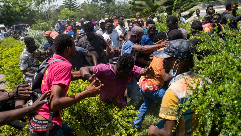 Tensions spilt over in the southern parts of Haiti, as people fought over food trucks.
