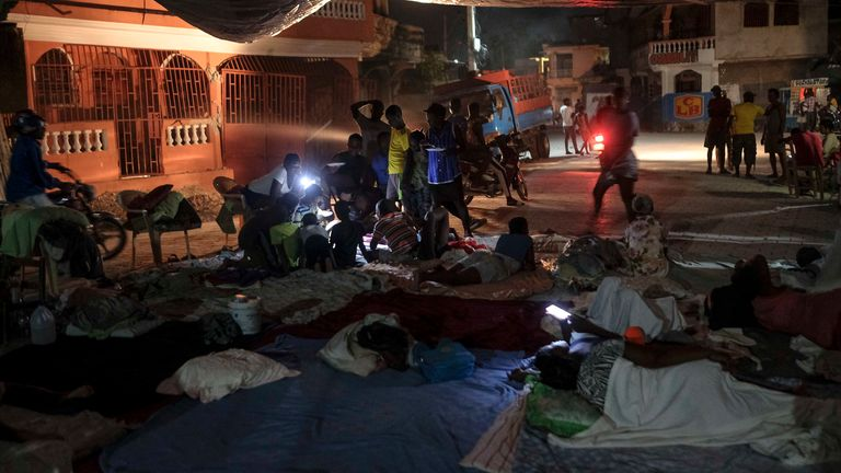 People have been forced to sleep on the streets after the 7.2 magnitude earthquake hit Haiti last week. Pic AP