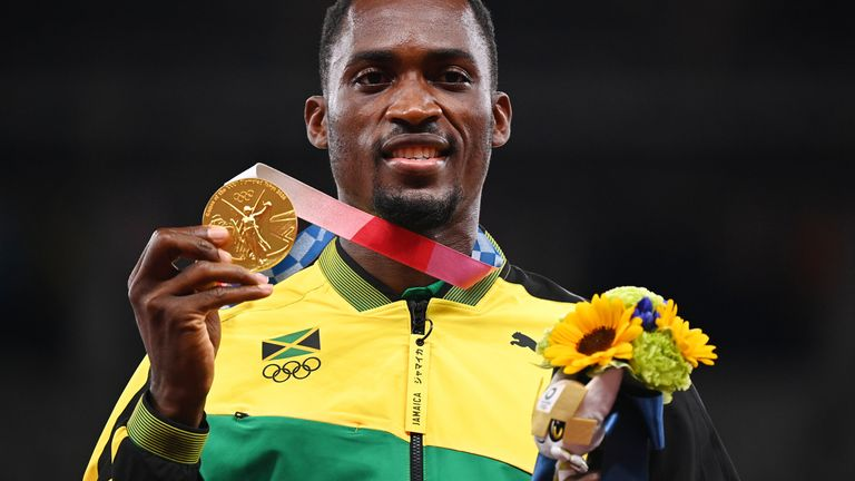 Parchment won gold in the 110m hurdles at the Games