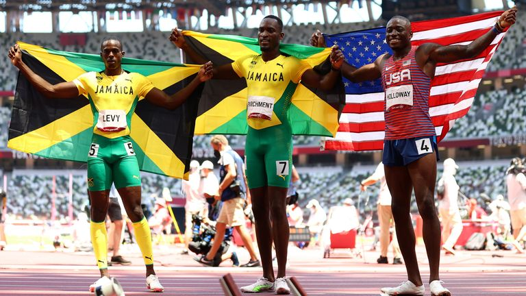 The Jamaican won the title, with compatriot Ronald Levy and America's Grant Holloway also medalling