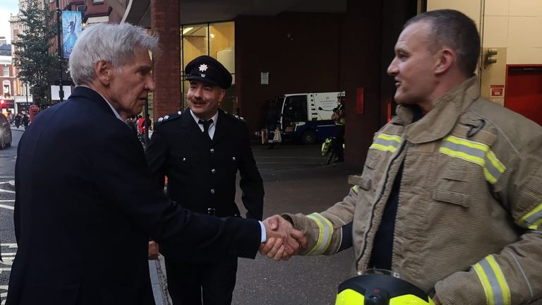 Harrison Ford was getting out of a car outside a fire station in Westminster when the opportunity arose. Pic: Twitter/@LFBWestminster