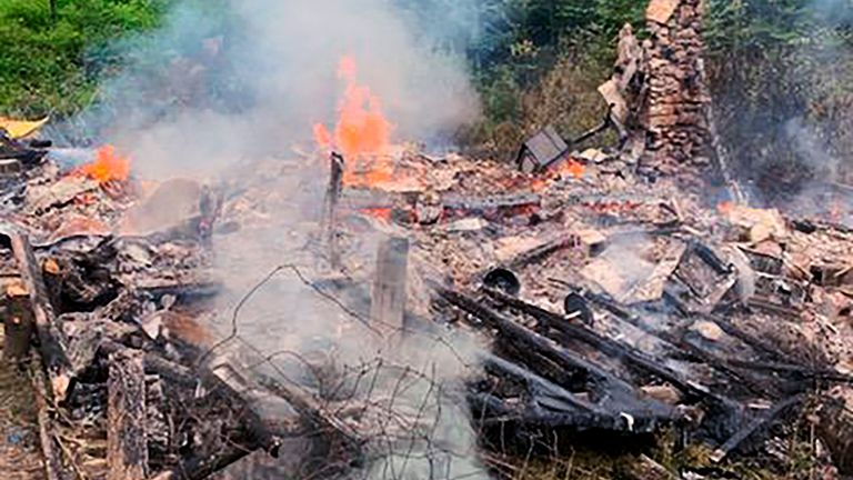A fire destroyed Mr Lidstone's cabin hours after he defended himself at court. Pic: Canterbury Fire Department via AP