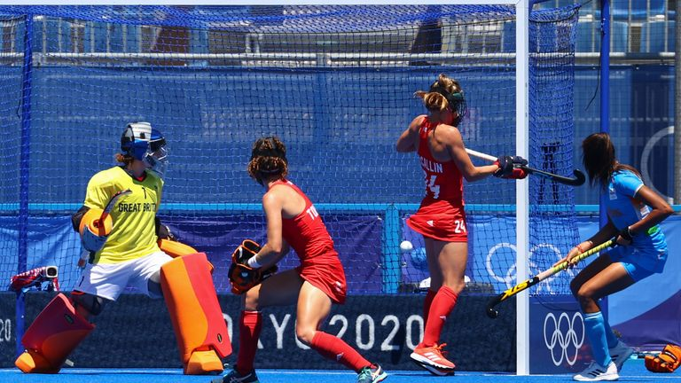 Team GB conceded three quick goals at the end of the first half, including two from penelty corners