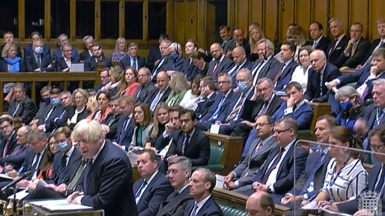 The Tory benches were mostly filled with MPs choosing not to use face coverings