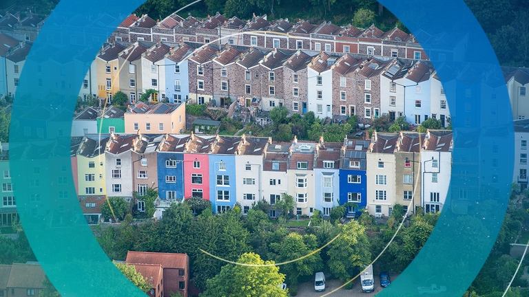 Colourful houses in Hotwells in the city of Bristol seen from above during the first mass ascent, where balloons from all over the world gather at Ashton Court, Bristol, to take part in the Bristol International Balloon Fiesta.