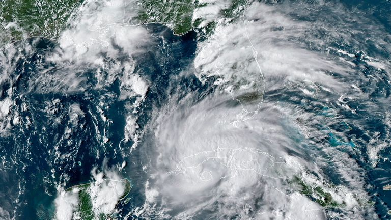 A satellite image on Friday 27 August showing Hurricane Ida crossing western Cuba Pic: NOAA via AP