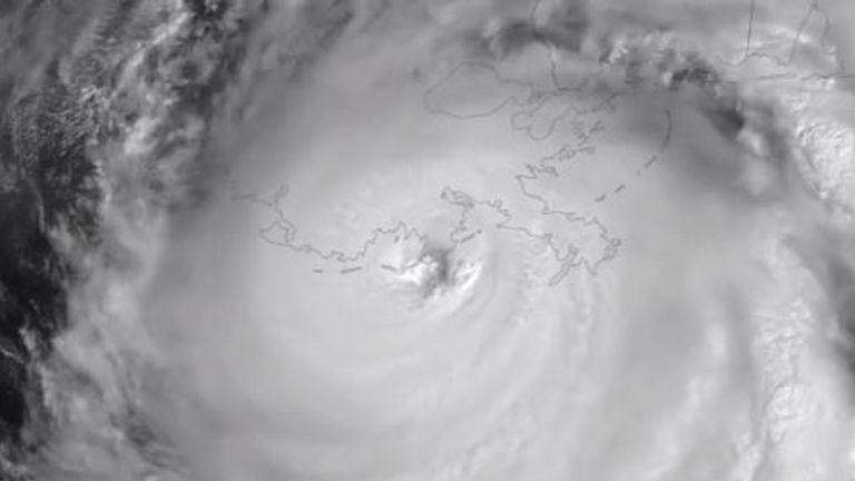 A satellite image of Ida making landfall. Pic: @NOAASatellites