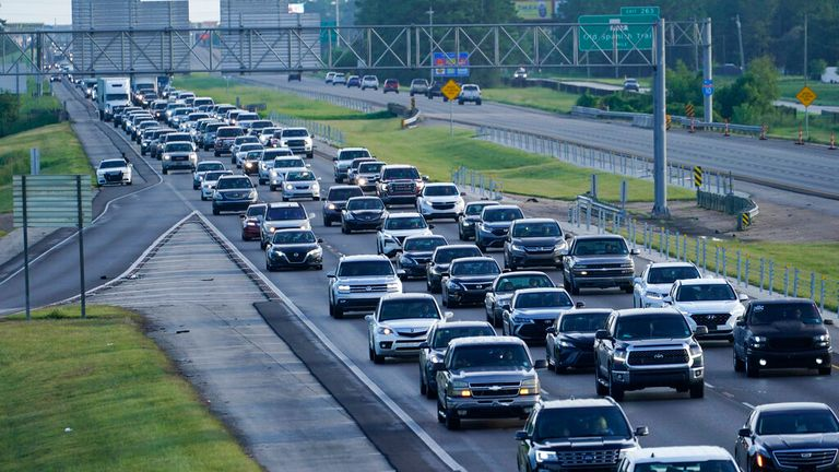 Traffic has ground to a halt on the Interstate 10 out of New Orleans as people flee Pic: AP