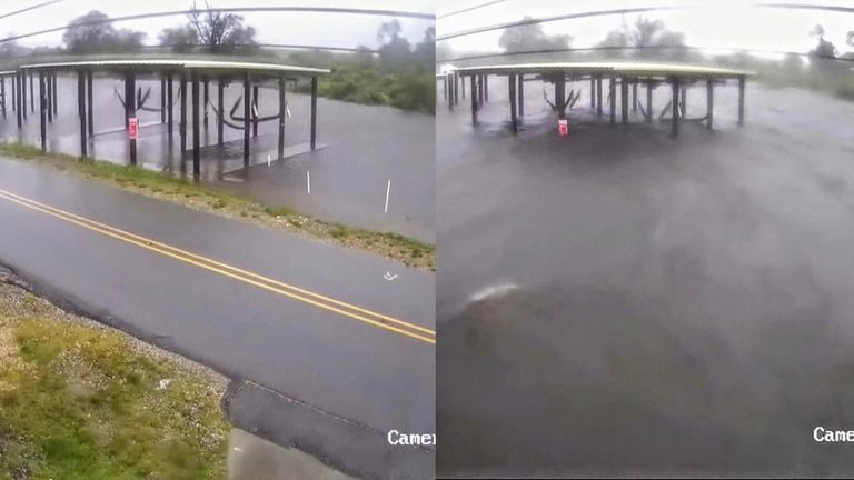 Dramatic security camera footage from a fire station in Delacroix, Louisiana shows Hurricane Ida flooding roads within an hour.