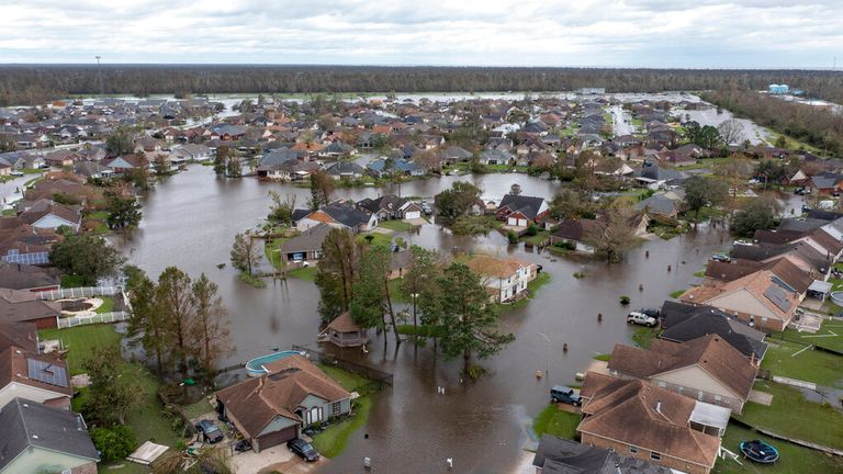 Flooded streets in the Spring Meadow subdivision in LaPlace, Louisiana. Pic: AP
