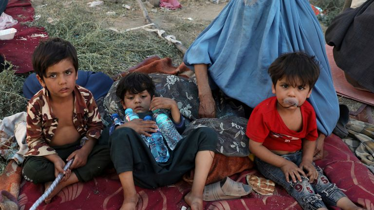 Internally displaced Afghans who fled their home to Kabul due to fighting between the Taliban and Afghan security forces. Pic: AP