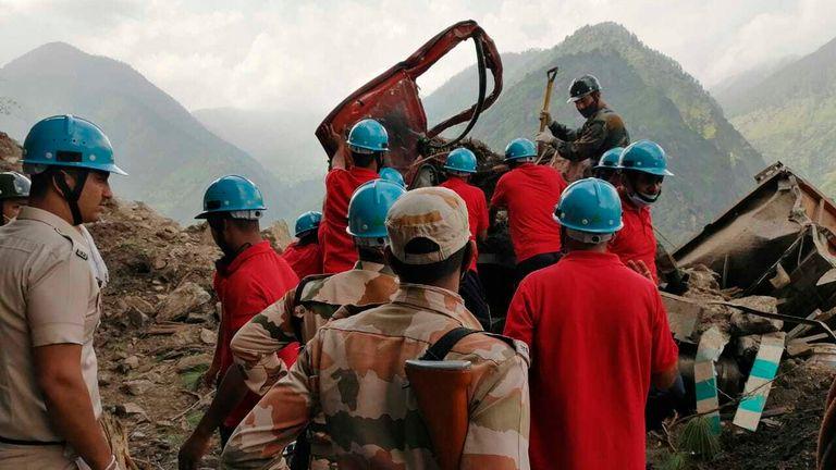 India landslide. Pic: AP
