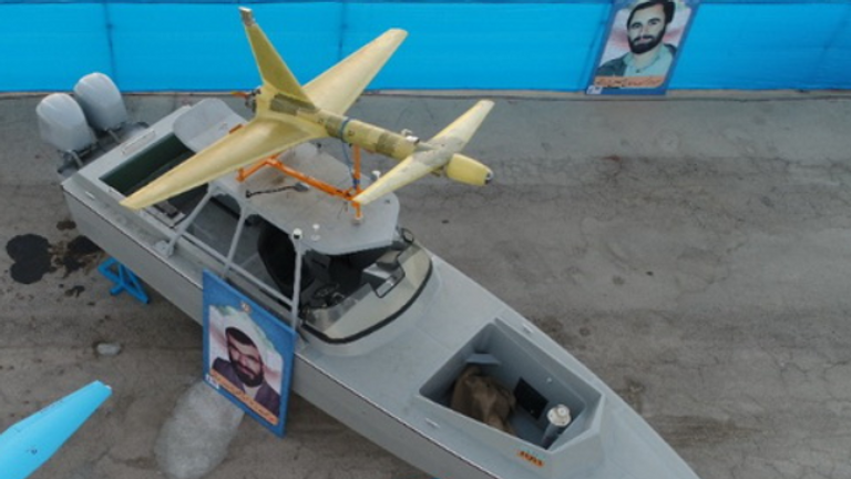 An Ababil 2 drone mounted on a boat at an event in Iran in 2020.