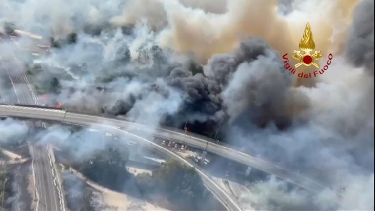 Wildfires in Pescara, eastern Italy
